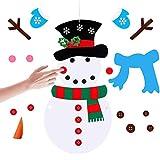 Milaloko DIY Felt Christmas Snowman, DIY Felt Christmas Snowman Games Set con Luces LED