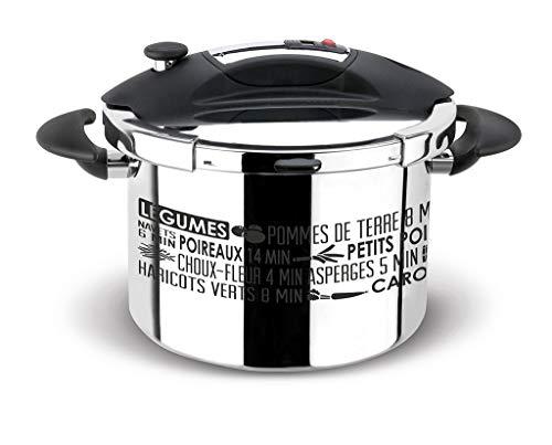 Sitram 711937 Autocuiseur Sitraspeedo 8L en inox-noir avec sérigraphie-tous feux y compris l'induction-fabrication française, Acier 18/10, 24 cm