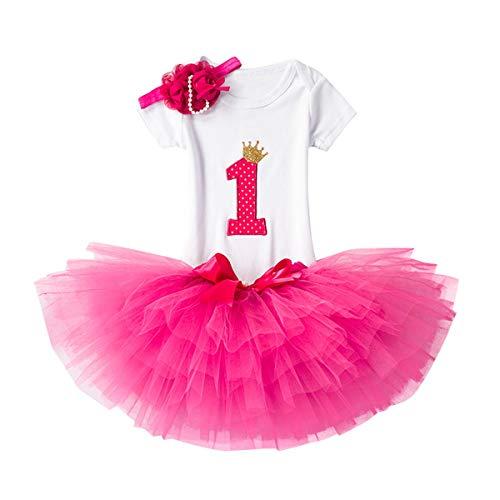 NNJXD Recién Nacida Tutú Primer Cumpleaños 3 Piezas Trajes Mameluco + Falda y Diadema Tamaño (1) 1 Año Rose Rojo
