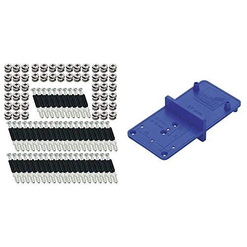 SECOTEC Hettich Exzenter Möbelverbinder Rastex 15; Material: Zinkdruckguss vernickelt Inhalt: 50 Stück & Hettich ACCURA Bohrschablone MultiBlue, 351