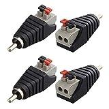 Jopto 4 Piezas Adaptador de Enchufe Macho RCA a Terminal AV Hembra de 2 Tornillos para Altavoz, Adaptador de CC balun de Tipo Pinza para Audio y vídeo y Conector de Potencia para CCTV