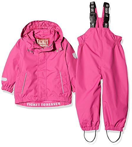 Ticket to Heaven Unisex Baby Regenanzug 2tlg. Plain m. Abnehmbarer Kapuze Schneeanzug, Rosa (Raspberry Rose|Pink 2082), (Herstellergröße: 80)