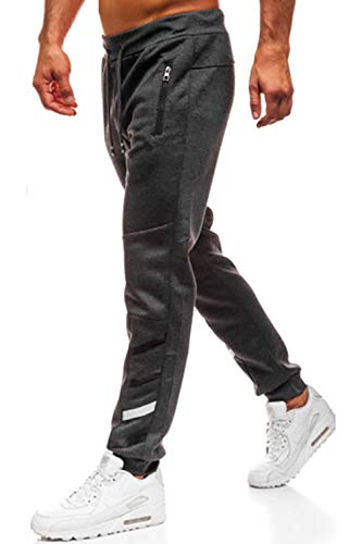 Lantch Herren Hosen Hose Sporthose Trainingshose Cargo Pants Jogginghose Sweatpants Jogger Mode Freizeit Laufen Streifen Enger Beinabschluss, L, Dunkelgrau