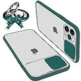 Funda Con Tapa Deslizable Para Cámara Compatible Con iPhone 12 Mini 5.4' Funda Protectora Antigolpe Carcasa PC y Silicona TPU Con Soporte de Anillo (Soporte El Montaje De Coche Magnético) Verde