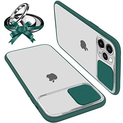 UNIOTEK Coque avec Protection Caméra Glissante Compatible avec iPhone 11 Coque Protecteur d'Objectif Antichoc Translucide avec Bague Support Magnetique (Compatible Support de Voiture Magnétique) Vert