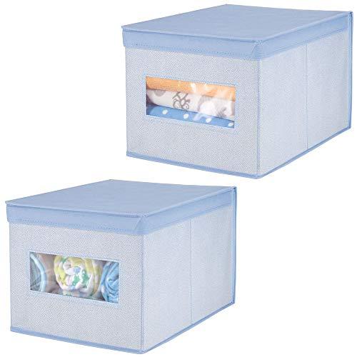 mDesign Juego de 2 cajas de tela – Cajas con tapa de fibra sintética transpirable – Caja organizadora ideal como organizador de armarios – Caja para guardar ropa o accesorios de bebé – azul
