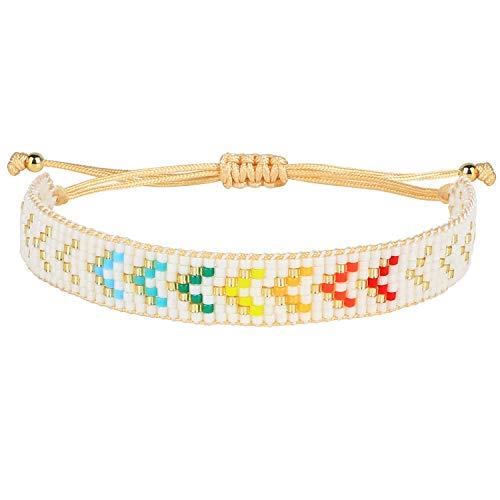 KELITCH Wrap Bracelet Hippy Boho Rainbow Miyuki Beads Bracelet Leather Bracelets Handmade Fashion Jewelry for Women 2020 E