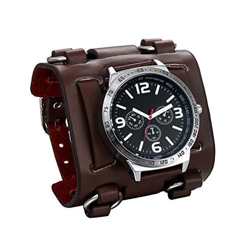 Jewelrywe Reloj de pulsera Hombre Chicos Marron/Brazalete ancho de cuero negro