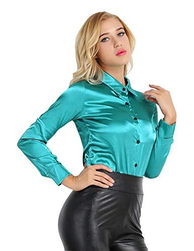 Shirt dames lange mouwen revers satijn lente moderne eenrijen casual blouse hemden herfst elegante slim fit mode vrije tijd business overhemd blouse tops effen