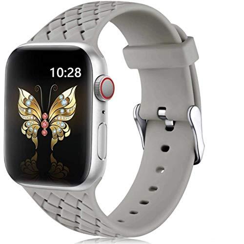 Correa de silicona para Apple Watch 6 Band 44mm 40mm Series 5 4 3 2 SE Accesorios Pulsera de cinturón de patrón tejido para IWatch Band 42mm 38mm-gris 2,38mm o 40mm