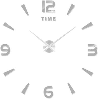 VORCOOL Fashion Modern DIY Wall Clock Large 3D Clock Acrylic Big Watch Mirror Metal Frameless Wall