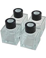 Ougual - Conjunto de 4 Botellas Cuadrado de Vidrio difusor, Botellas de aceites Esenciales para fragancias caseras (50ML, Gorras de Negras)