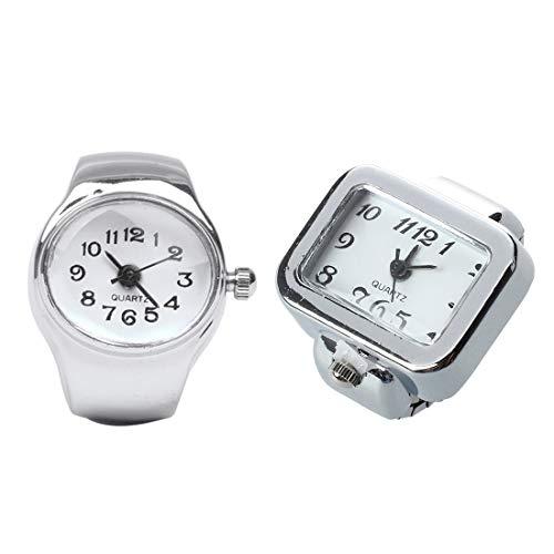 ACAMPTAR 2 Pcs Ring Watch: 1 Pcs Watch Quartz Movement Oval Ring Alloy Deco Woman White & 1 Pcs Quartz Watch Ring Watch Digit Dial Arabic Rectangle White Unisex Jewelry