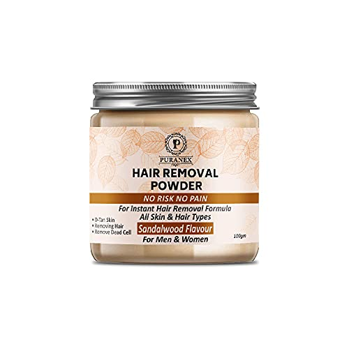 Hair Removal Powder (Sandalwood Fragrance) For Underarms, Hand, Legs & Bikini Line Three in one Use For D-Tan Skin, Removing Hair, Remove Dead cell (Men & Women) (100GM (PACK OF 1-100GM))