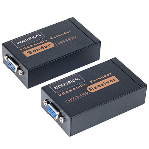 MOERISICAL VGA Cat5e Cat6 Extender 300ft Video Repeater Over Ethernet Cable, up to 100m, Sender+Receiver