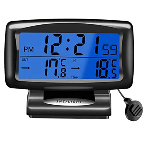 Termómetro de Coche Reloj Despertador Digital Medidor de Temperatura de vehículos automáticos con luz de Fondo