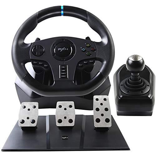 PXN V9 Gaming Rennlenkrad mit 3-Pedalset, Schalthebel, und Schaltpaddles, Universal USB Autorennspie Spiel Lenkrad 900° Lenkbereich für PS3, PS4, Xbox One, Nintendo Switch, PC
