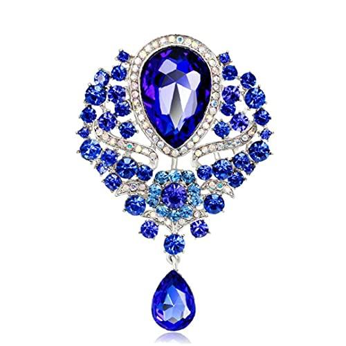 Tuimiyisou El Regalo de Las Mujeres 1PC Flor Cristal Broche del Pin Broche cristalina de la lágrima de la Broche del Pin de la joyería de Lujo magnífico para Muchachas de Las Mujeres (A)