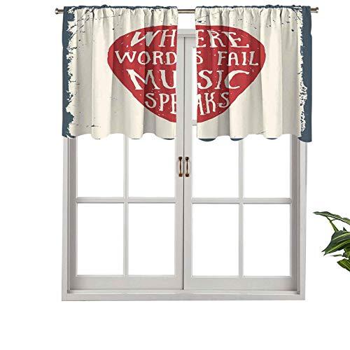 """Hiiiman Cenefas de cortina opacas con bolsillo para barra cortas, paneles de cortina con texto en inglés """"Where Words Fail Music Speaks"""", juego de 2, 137 x 91 cm para cocina y baño"""