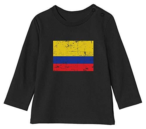 Camiseta bebé Unisex Manga Larga - Bandera de Colombia 18-24M 89/93cm Negro