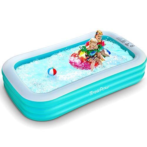 TrekPow Pool, 242 * 142 * 56cm aufblasbarer Pool, Familien Swimmingpool und Einfaches Set Planschbecken für Kinder Erwachsene