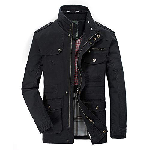 Men's Padded Casual Long Sleeve Plaid Lined Button Warm Jacket Men's Jacket Large Size-Black_M