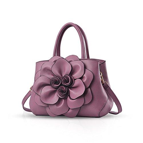 NICOLE & DORIS Borsa donna alla moda a fiori Borsa a mano Borsa a tracolla elegante borsa messenger Borse Tote in PU Pelle Viola
