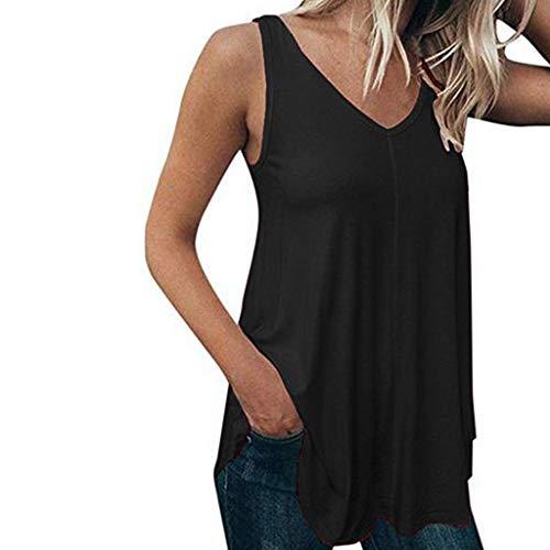 Ginli Canottiere Donna Eleganti - Sexy Vintage Magliette Estive Maglia Corta Elegante Top Taglie Forti Abbigliamento Sportivo Donna Palestra Maglietta Casual
