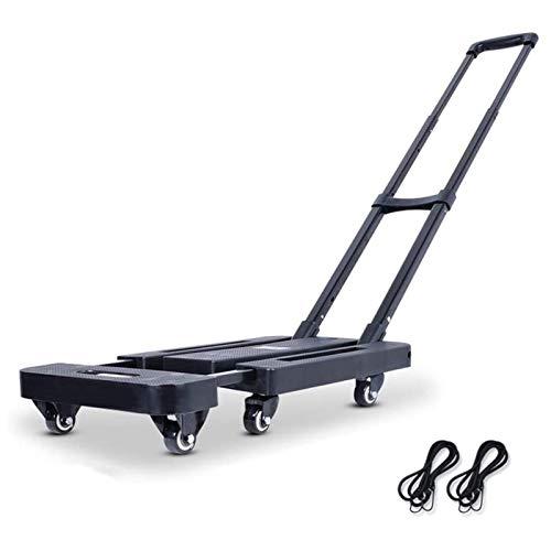 TYUIOO Handkarren Trolley Folding Trolley Eisen Haushalt Kleine Werkzeugwagen Van Truck Praktische Tragbarer Sack Trolley Rollwagen Load Bearing Über 150kg, mit Zwei Nylonseil (Color : Black)