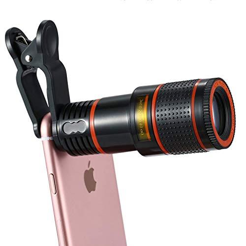 Cell Phone Telescope Lens, Smartphone Camera HD Lens Kit Optical Telescope 12X Zoom Lens Universal Clip Suitable for iPhone Samsung LG Asus Sony iPad and Other Mobile Phone, Cell Phone Telephoto Lens