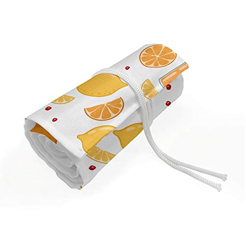 ABAKUHAUS Modern Mäppchen Rollenhalter, Obst Saft Zitrone, langlebig und tragbar Segeltuch Stiftablage Organizer, 72 Schlaufen, Aprikose Rubin