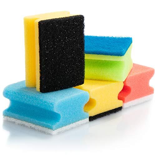 COM-FOUR® nettoyant pour casseroles 12x en plastique - tampons à récurer de différentes couleurs - éponge de nettoyage en plastique pour la saleté tenace - nettoyant pour casseroles (12 pièces - mélange de couleurs)