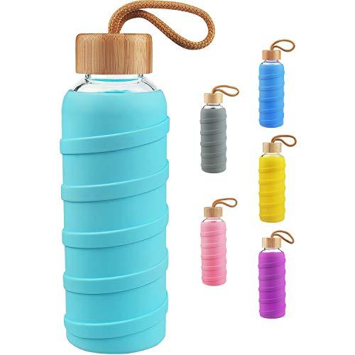 SHBRIFA Botella de Agua de Vidrio de Borosilicato Deportivo 480ml / 1000ml / 1 Litre, Botella de Agua de Cristal con Funda de Silicona y Tapa de Bambu a Prueba de Fugas(480ml Turquesa)