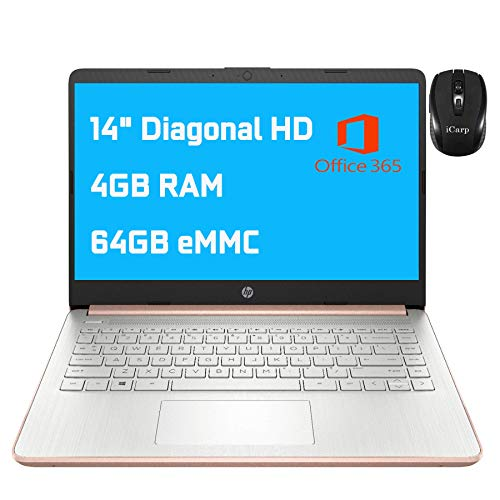 2021 Flagship HP Laptop 14 Computer 14' Diagonal HD Display Intel Celeron N4020 4GB RAM 64GB eMMC Intel UHD Graphics 600 USB-C HDMI Wifi5 Bluetooth Win10 + iCarp Wireless Mouse