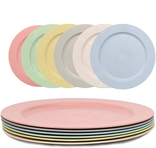 10 Inch Wheat Straw Plate, 6 Pcs Lightweight Dinner Plates - Dishwasher & Microwave Safe, Reusable, Unbreakable, Eco-Friendly & BPA Free, Degradable Dinner Plates for Kids Children Adult