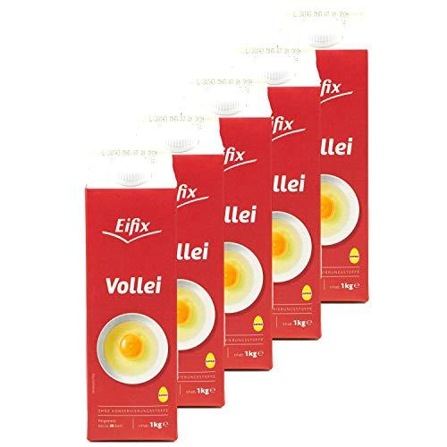 Eifix - 5er Pack Vollei hergestellt aus ca. 20 Eiern 1 kg Packung - Eipro Eier Ei flüssig ohne Konservierungsstoffe ideal für Rührei und zum Kochen (pasteurisiert)