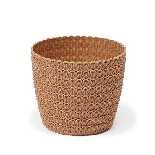 Lamela overpot Magnolia Jersey ECO (+30% hout) - diameter 22cm, kleur: ECO natuurlijk hout (oranje/terracotta) | bloempot voor bloemen en planten | vanage kunststof plantenbakken + 30% hout.