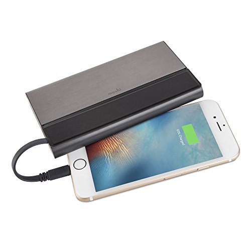 Moshi IonBank 10K Portable Battery 10,300 mAh with Built-in Lightning Cable [MFi-Certified], Aircraft-Grade Aluminum with Vegan Leather, Power Bank for iPhone 11 & Other iOS Device, Gunmetal Gray.