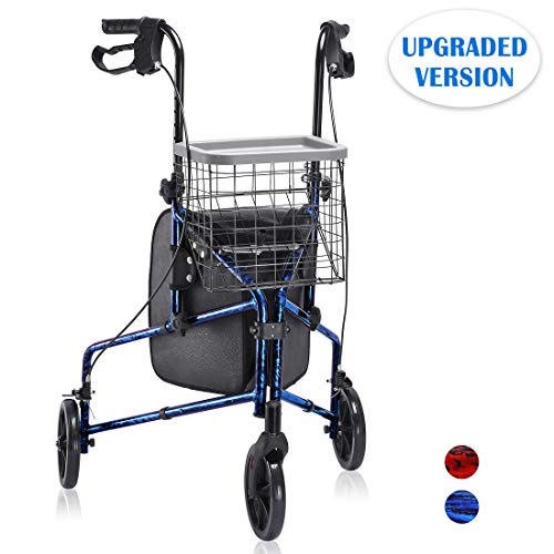Health Line Massage Products Upgraded Compact Folding 3 Wheel Aluminum Rollator Walker Lightweight with Bag and Basket, Flame Blue