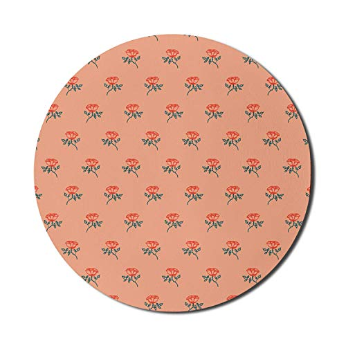 Floral Mouse Pad for Computers, Continuous Hand Drawn Ornaments of Rose Flowers with Leaves and Twigs Print, Round Non-Slip Thick Rubber Modern Gaming Mousepad, 8' Round, Salmon Multicolor