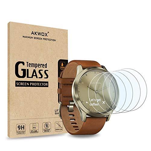 AKWOX [4 Stück] Garmin Vivomove HR Schutzfolie aus Panzerglas, 0.33mm 9H Festigkeit Kratzfest Bildschirmschutzfolie für Garmin Vivomove HR Panzerglasfolie