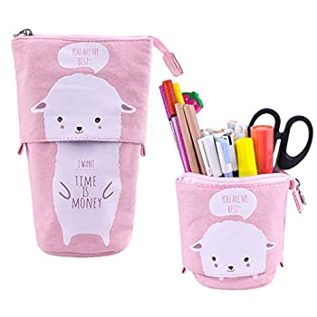 iSuperb Cartoon Telescopic Stand Up Pencil Case Pen Bag Cute Animal Office Student Stationery Bag Cosmetic Organizer Pouch  White Sheep