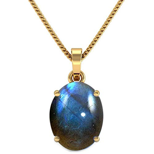 JewelryGift Natural Labradorite Pendant with Chain Oval Cabochon Gemstone Multi Color 18k Gold Plated Stylish Pendants for Mother