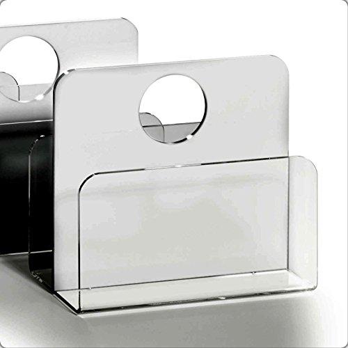 HOWE-Deko Hochwertiger Acryl-Glas Zeitungsständer, Zeitschriftenständer, klar/weiß, 33 x 16 cm, H 43 cm, Acryl-Glas-Stärke 5/8 mm