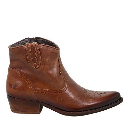 Felmini - Damen Schuhe - Verlieben West B504 - Cowboy & Biker Stiefeletten - Echtes Leder - Braun - 37 EU Size