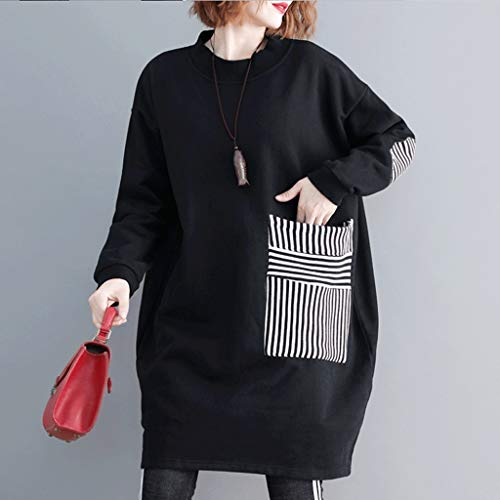 LXDWJ Manga Larga algodón Negro más tamaño Mujeres Casual Suelto Midi otoño Invierno Sudadera Vestido Elegante Ropa Damas Vestidos (Size : Large)