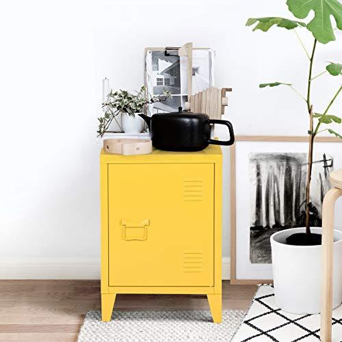 URNITURE-R France - Armadietto portadocumenti in metallo, comodino, per soggiorno, badroom, ufficio, 40,5 x 30,5 x 57,5 cm Giallo
