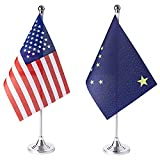 ZXvZYT 2 Pack American US Alaska flag USA Alaska AK State table flag,Small Mini United States Desk Flags With Stand Base,for U.S. States Party Events Celebration Decorations Supplies