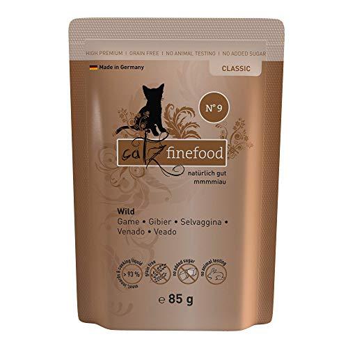 catz finefood N° 9 Wild Feinkost Katzenfutter nass, verfeinert mit Kartoffel & Preiselbeere, 16 x 85g Beutel