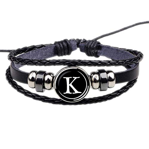 CNSP Brazaletes Pulsera,Joyería 26 Letters Bracelet Personality Team Name Rope Bracelet Black Leather Bracelet Button Bangle Men Women Fashion Birthday Gifts
